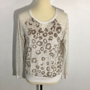 Kensie Plush Leopard Spotted Top with Lace Sleeves